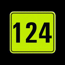 Huisnummerbord Alupanel 119x109 - Reflecterende opdruk: Huisnummerbord Alupanel 119x109 met print van tekst / pictogrammen in reflectieklasse 3 (incl. anti-graffiti laminaat). Basis: Geel-groen-Fluor met zwart (Rand: RAL 9017 - zwart) Tekstvlak: 124. - Product eigenschappen: Ontwerpcode: 0dc5c8Afmetingen: 119x109mmReflecterend: Klasse 3 [ maximaal ]Incl. anti-graffiti laminaat