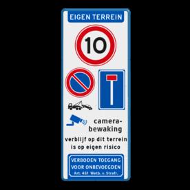 Aluminium informatiebord met een dubbel omgezette rand - Aluminium informatiebord met een dubbel omgezette rand met print van tekst / pictogrammen in reflectieklasse 3 (incl. anti-graffiti laminaat). Reflecterende opdruk: Basis: Wit / blauwe rand (Rand: RAL 5017 - blauw) Koptekst: Pictogram: EIGEN TERREIN Verkeersteken: Pictogram: A01-010 Ondertekst: Pictogram: Verboden toegang voor onbevoegden Art. 461 Wetboek van Strafrecht Verkeersteken: Pictogram: E01 - Parkeren verboden Verkeersteken: Pictogram: L08 - Doodlopende weg Pictogram: Pictogram: Camerabewaking Tekstvlak: verblijf op dit terrein is op eigen risico onderpicto: Pictogram: OB303 Wegsleepregeling.