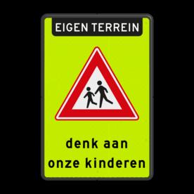Aluminium informatiebord met een dubbel omgezette rand - Reflecterende opdruk: Aluminium informatiebord met een dubbel omgezette rand met print van tekst / pictogrammen in reflectieklasse 3 (incl. anti-graffiti laminaat). Basis: Fluor geel-groen / zwarte rand (Rand: RAL 9017 - zwart) Koptekst: Pictogram: EIGEN TERREIN Verkeersteken: Pictogram: J21 Tekstvlak: denk aan onze kinderen. - Product eigenschappen: Ontwerpcode: 11ba56Afmetingen: 400x600mmReflecterend: Klasse 3 [ maximaal ]Uitvoering: Dubbel omgezette randIncl. anti-graffiti laminaat