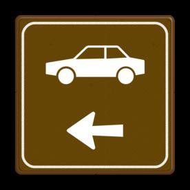 Aluminium informatiebord met een dubbel omgezette rand - Aluminium informatiebord met een dubbel omgezette rand met print van tekst / pictogrammen in reflectieklasse 3 (incl. anti-graffiti laminaat). Reflecterende opdruk: Basis: Bruin (Rand: RAL 8016 - bruin) Picto bovenaan: Pictogram: Auto (standaard) Picto onderaan: Pictogram: Pijl links.