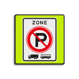 Aluminium informatiebord met een dubbel omgezette rand - Aluminium informatiebord met een dubbel omgezette rand met print van tekst / pictogrammen in reflectieklasse 3 (incl. anti-graffiti laminaat). Reflecterende opdruk: Basis: Fluor geel-groen / zwarte rand (Rand: RAL 9017 - zwart) Picto: Pictogram: E201zb ZONE parkeerverbod vrachtauto's en bussen.