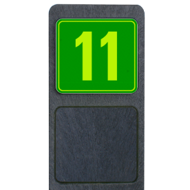 Bermpaal 1250x150x40mm met fluorescerend bordje 119x109mm - Bermpaal 1250x150x40mm met fluorescerend bordje 119x109mm met print van tekst / pictogrammen in reflectieklasse 3 (incl. anti-graffiti laminaat). Reflecterende opdruk: Basis: Groen - Gl-Gr-Fluor (Rand: Fluor geel/groen) Tekstvlak: 11.