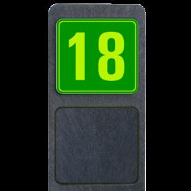 Bermpaal 1250x150x40mm met fluorescerend bordje 119x109mm - Reflecterende opdruk: Bermpaal 1250x150x40mm met fluorescerend bordje 119x109mm met print van tekst / pictogrammen in reflectieklasse 3 (incl. anti-graffiti laminaat). Basis: Groen - Gl-Gr-Fluor (Rand: Fluor geel/groen) Tekstvlak: 18. - Product eigenschappen: Ontwerpcode: 1aa18dAfmetingen: 119x109mmReflecterend: Klasse 3 [ maximaal ]Uitvoering: Dubbelzijdig bedruktIncl. anti-graffiti laminaat