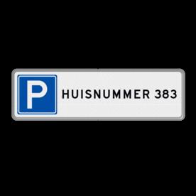 Aluminium informatiebord met een dubbel omgezette rand - Reflecterende opdruk: Aluminium informatiebord met een dubbel omgezette rand met print van tekst / pictogrammen in reflectieklasse 3 (incl. anti-graffiti laminaat). Basis: Wit / grijze rand (Rand: RAL 7042 - grijs) Picto: Pictogram: Parkeren toegestaan Tekstvlak: HUISNUMMER 383. - Product eigenschappen: Ontwerpcode: 1bb7e4Afmetingen: 600x200mmReflecterend: Klasse 3 [ maximaal ]Uitvoering: Dubbel omgezette randIncl. anti-graffiti laminaat