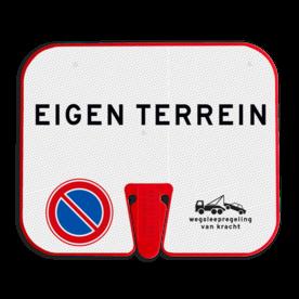 ConeSign Kunststof paneel t.b.v. afzetkegel - Reflecterende opdruk: ConeSign Kunststof paneel t.b.v. afzetkegel met print van tekst / pictogrammen in reflectieklasse 3 (incl. anti-graffiti laminaat). Basis: Wit (Rand: RAL 2009 - oranje) Tekstvlak: EIGEN TERREIN Links-onder: Pictogram: E01 - Parkeren verboden Rechts-onder: Pictogram: OB304 Wegsleepregeling met tekst. - Product eigenschappen: Ontwerpcode: 1bfd64Afmetingen: 330x270mmReflecterend: Klasse 3 [ maximaal ]Incl. anti-graffiti laminaat