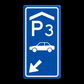 Aluminium informatiebord met een dubbel omgezette rand - Reflecterende opdruk: Aluminium informatiebord met een dubbel omgezette rand met print van tekst / pictogrammen in reflectieklasse 3 (incl. anti-graffiti laminaat). Basis: Blauw (Rand: RAL 5017 - blauw) Picto boven: Pictogram: Parkeerplaats overdekt met nummer: 3 Picto midden: Pictogram: Auto (standaard) Picto onder: Pictogram: Pijl links onder. - Product eigenschappen: Ontwerpcode: 1e96d5Afmetingen: 400x800mmReflecterend: Klasse 3 [ maximaal ]Incl. anti-graffiti laminaat
