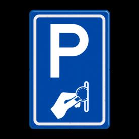 Aluminium informatiebord met een dubbel omgezette rand - Aluminium informatiebord met een dubbel omgezette rand met print van tekst / pictogrammen in reflectieklasse 3 (incl. anti-graffiti laminaat). Reflecterende opdruk: Basis: Blauw (Rand: RAL 5017 - blauw) Picto boven: Pictogram: Parkeren Picto onder: Pictogram: Betaald parkeren.