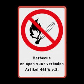 Aluminium informatiebord met een dubbel omgezette rand - Reflecterende opdruk: Aluminium informatiebord met een dubbel omgezette rand met print van tekst / pictogrammen in reflectieklasse 3 (incl. anti-graffiti laminaat). Basis: Wit / rode rand (Rand: RAL 3020 - rood) Verkeersteken: Pictogram: P003 - Vuur, open vlam en roken verboden Tekstvlak: Barbecue en open vuur verboden Artikel 461 W.v.S.. - Product eigenschappen: Ontwerpcode: 1ef664Afmetingen: 400x600mmReflecterend: Klasse 3 [ maximaal ]Uitvoering: Dubbel omgezette randIncl. anti-graffiti laminaat