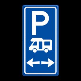 Aluminium informatiebord met een dubbel omgezette rand - Aluminium informatiebord met een dubbel omgezette rand met print van tekst / pictogrammen in reflectieklasse 3 (incl. anti-graffiti laminaat). Reflecterende opdruk: Basis: Blauw (Rand: RAL 5017 - blauw) Picto boven: Pictogram: Parkeren Picto midden: Pictogram: Camper (standaard) Picto onder: Pictogram: Pijl links+rechts.
