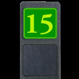 Bermpaal 1250x150x40mm met fluorescerend bordje 119x109mm - Reflecterende opdruk: Bermpaal 1250x150x40mm met fluorescerend bordje 119x109mm met print van tekst / pictogrammen in reflectieklasse 3 (incl. anti-graffiti laminaat). Basis: Groen - Gl-Gr-Fluor (Rand: Fluor geel/groen) Tekstvlak: 15. - Product eigenschappen: Ontwerpcode: 1fd181Afmetingen: 119x109mmReflecterend: Klasse 3 [ maximaal ]Uitvoering: Enkelzijdig bedruktIncl. anti-graffiti laminaat