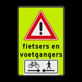Aluminium informatiebord met een dubbel omgezette rand - Aluminium informatiebord met een dubbel omgezette rand met print van tekst / pictogrammen in reflectieklasse 3 (incl. anti-graffiti laminaat). Reflecterende opdruk: Basis: Fluor geel-groen / zwarte rand (Rand: RAL 9017 - zwart) Verkeersteken: Pictogram: J37 Tekstvlak: fietsers en voetgangers Pictogram onder: Pictogram: Kruisende fietsers en voetgangers.