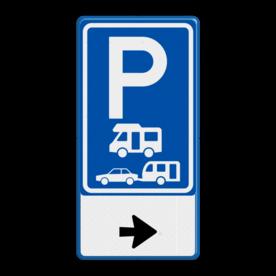 Aluminium informatiebord met een dubbel omgezette rand - Aluminium informatiebord met een dubbel omgezette rand met print van tekst / pictogrammen in reflectieklasse 3 (incl. anti-graffiti laminaat). Reflecterende opdruk: Basis: Wit / blauwe rand (Rand: RAL 5017 - blauw) Verkeersteken BEW / E serie: Pictogram: E08 - campers en caravan Pictogram onder: Pictogram: Pijl rechts.