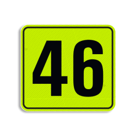 Huisnummerbord Alupanel 119x109 - Huisnummerbord Alupanel 119x109 met print van tekst / pictogrammen in reflectieklasse 3 (incl. anti-graffiti laminaat). Reflecterende opdruk: Basis: Geel-groen-Fluor met zwart (Rand: RAL 9017 - zwart) Tekstvlak: 46.