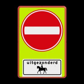 Aluminium informatiebord met een dubbel omgezette rand - Reflecterende opdruk: Aluminium informatiebord met een dubbel omgezette rand met print van tekst / pictogrammen in reflectieklasse 3 (incl. anti-graffiti laminaat). Basis: Fluor geel-groen / rode rand (Rand: RAL 3020 - rood) Verkeersteken: Pictogram: C02 - Eenrichtingsweg, in deze richting gesloten Picto onder: Pictogram: Uitgezonderd ruiter te paard. - Product eigenschappen: Ontwerpcode: 238354Afmetingen: 600x900mmReflecterend: Klasse 3 [ maximaal ]Uitvoering: Dubbel omgezette randIncl. anti-graffiti laminaat