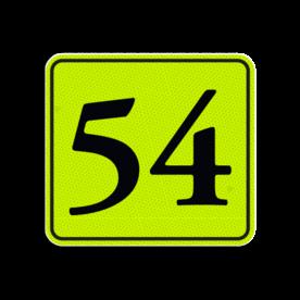 Huisnummerbord Alupanel 119x109 - Huisnummerbord Alupanel 119x109 met print van tekst / pictogrammen in reflectieklasse 3 (incl. anti-graffiti laminaat). Reflecterende opdruk: Basis: Geel-groen-Fluor met zwart (Rand: RAL 9017 - zwart) Tekstvlak: 54.