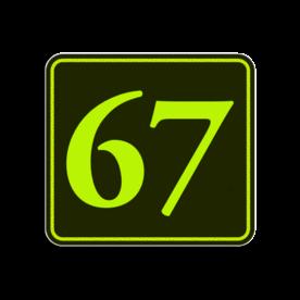 Huisnummerbord Alupanel 119x109 - Reflecterende opdruk: Huisnummerbord Alupanel 119x109 met print van tekst / pictogrammen in reflectieklasse 3 (incl. anti-graffiti laminaat). Basis: Zwart - Gl-Gr-Fluor (Rand: Fluor geel/groen) Tekstvlak: 67. - Product eigenschappen: Ontwerpcode: 2593ebAfmetingen: 119x109mmReflecterend: Klasse 3 [ maximaal ]Incl. anti-graffiti laminaat