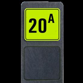 Bermpaal 1250x150x40mm met fluorescerend bordje 119x109mm - Bermpaal 1250x150x40mm met fluorescerend bordje 119x109mm met print van tekst / pictogrammen in reflectieklasse 3 (incl. anti-graffiti laminaat). Reflecterende opdruk: Basis: Geel-groen-Fluor met zwart (Rand: RAL 9017 - zwart) Tekstvlak: 20 A.