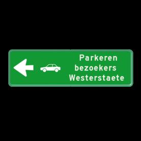 Aluminium informatiebord met een dubbel omgezette rand - Reflecterende opdruk: Aluminium informatiebord met een dubbel omgezette rand met print van tekst / pictogrammen in reflectieklasse 3 (incl. anti-graffiti laminaat). Basis: Groen-Groen (Rand: RAL 6024 - groen) Pijlfiguratie: Pictogram: Pijl links Picto: Pictogram: Auto zijkant Tekstvlak: Parkeren bezoekers Westerstaete. - Product eigenschappen: Ontwerpcode: 2bf714Afmetingen: 600x200mmReflecterend: Klasse 3 [ maximaal ]Uitvoering: Dubbel omgezette randIncl. anti-graffiti laminaat
