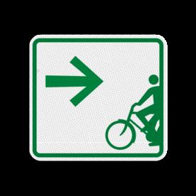 Routebord 119x109mm met pijl - Routebord 119x109mm met pijl met print van tekst / pictogrammen in reflectieklasse 3 (incl. anti-graffiti laminaat). Reflecterende opdruk: Basis: Fietsroutebord-pijl (Rand: RAL 6024 - groen) Pijlrichting: Pictogram: 03 Rechts.