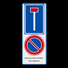 Aluminium informatiebord met een dubbel omgezette rand - Reflecterende opdruk: Aluminium informatiebord met een dubbel omgezette rand met print van tekst / pictogrammen in reflectieklasse 3 (incl. anti-graffiti laminaat). Basis: Wit / blauwe rand (Rand: RAL 5017 - blauw) RVV E serie: Pictogram: L08 - Doodlopende weg RVV teken: Pictogram: E01 - Parkeren verboden Tekstvlak: Parkeren UITSLUITEND voor bewoners. - Product eigenschappen: Ontwerpcode: 2e687bAfmetingen: 400x1000mmReflecterend: Klasse 3 [ maximaal ]Incl. anti-graffiti laminaat