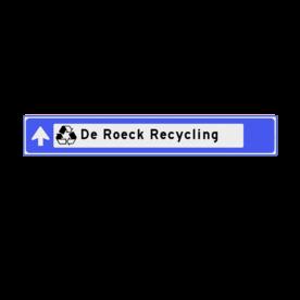 Aluminium informatiebord met een haaks omgezette rand - Reflecterende opdruk: Aluminium informatiebord met een haaks omgezette rand met print van tekst / pictogrammen in reflectieklasse 3 (incl. anti-graffiti laminaat). Basis: Blauw RAL5017 / wit / zwart (Rand: RAL 5017 - blauw) Achtergrond: Pictogram: Strokenbord 1 regelig rechtdoor Pictogram: Pictogram: OR045 Recycle Tekstvlak: De Roeck Recycling. - Product eigenschappen: Ontwerpcode: 2f8e67Afmetingen: 1500x230mmReflecterend: Klasse 3 [ maximaal ]Uitvoering: Dubbel omgezette randIncl. anti-graffiti laminaat