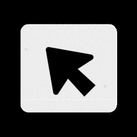 Huisnummerbord Alupanel 119x109mm - Huisnummerbord Alupanel 119x109mm met print van tekst / pictogrammen in reflectieklasse 3 (incl. anti-graffiti laminaat). Reflecterende opdruk: Basis: Wit (Rand: RAL 9016 - wit) Pijlfiguratie: Pictogram: Pijl linksboven.