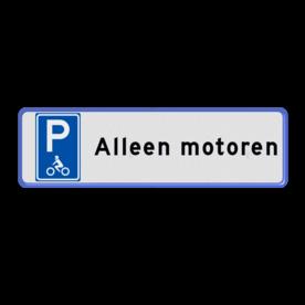 Aluminium informatiebord met een dubbel omgezette rand - Reflecterende opdruk: Aluminium informatiebord met een dubbel omgezette rand met print van tekst / pictogrammen in reflectieklasse 1 (incl. anti-graffiti laminaat). Basis: Wit / blauwe rand (Rand: RAL 5017 - blauw) Picto: Pictogram: E08m - motoren Tekstvlak: Alleen motoren. - Product eigenschappen: Ontwerpcode: 348acaAfmetingen: 600x200mmReflecterend: Klasse 1 [ minimaal ]Uitvoering: Dubbel omgezette randIncl. anti-graffiti laminaat