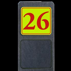 Bermpaal 1250x150x40mm met fluorescerend bordje 119x109mm - Reflecterende opdruk: Bermpaal 1250x150x40mm met fluorescerend bordje 119x109mm met print van tekst / pictogrammen in reflectieklasse 3 (incl. anti-graffiti laminaat). Basis: Geel-groen-Fluor met rood (Rand: RAL 3020 - rood) Tekstvlak: 26. - Product eigenschappen: Ontwerpcode: 36a806Afmetingen: 119x109mmReflecterend: Klasse 3 [ maximaal ]Uitvoering: Dubbelzijdig bedruktIncl. anti-graffiti laminaat