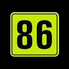 Huisnummerbord Alupanel 119x109 - Huisnummerbord Alupanel 119x109 met print van tekst / pictogrammen in reflectieklasse 3 (incl. anti-graffiti laminaat). Reflecterende opdruk: Basis: Geel-groen-Fluor met zwart (Rand: RAL 9017 - zwart) Tekstvlak: 86.