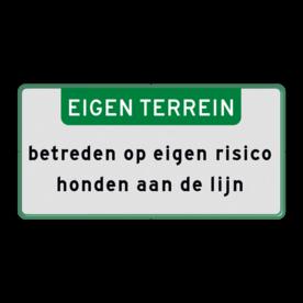 Aluminium informatiebord met een dubbel omgezette rand - Reflecterende opdruk: Aluminium informatiebord met een dubbel omgezette rand met print van tekst / pictogrammen in reflectieklasse 1 (incl. anti-graffiti laminaat). Basis: Wit / groene rand (Rand: RAL 6024 - groen) Banner: Pictogram: EIGEN TERREIN Tekstvlak: betreden op eigen risico honden aan de lijn. - Product eigenschappen: Ontwerpcode: 3b4b68Afmetingen: 300x150mmReflecterend: Klasse 1 [ minimaal ]Uitvoering: Dubbel omgezette randIncl. anti-graffiti laminaat