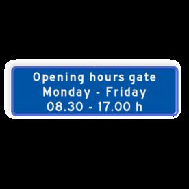 Aluminium informatiebord met een dubbel omgezette rand - Reflecterende opdruk: Aluminium informatiebord met een dubbel omgezette rand met print van tekst / pictogrammen in reflectieklasse 3 (incl. anti-graffiti laminaat). Basis: Blauw wit (Rand: RAL 5017 - blauw) Tekstvlak: Opening hours gate Monday - Friday 08.30 - 17.00 h. - Product eigenschappen: Ontwerpcode: 3b5e3dAfmetingen: 500x150mmReflecterend: Klasse 3 [ maximaal ]Uitvoering: Dubbel omgezette randIncl. anti-graffiti laminaat