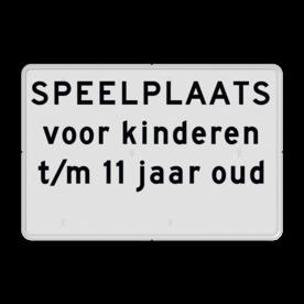 Aluminium informatiebord met een dubbel omgezette rand - Reflecterende opdruk: Aluminium informatiebord met een dubbel omgezette rand met print van tekst / pictogrammen in reflectieklasse 1 (incl. anti-graffiti laminaat). Basis: Wit / witte rand (Rand: RAL 9016 - wit) Tekstvlak: SPEELPLAATS voor kinderen t/m 11 jaar oud . Tekstvlak: Verboden toegang voor onbevoegden Art 461 w.v.s.. - Product eigenschappen: Ontwerpcode: 3d6074Afmetingen: 450x300mmReflecterend: Klasse 1 [ minimaal ]Uitvoering: Dubbel omgezette randIncl. anti-graffiti laminaat