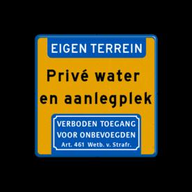 Aluminium informatiebord met een dubbel omgezette rand - Reflecterende opdruk: Aluminium informatiebord met een dubbel omgezette rand met print van tekst / pictogrammen in reflectieklasse 3 (incl. anti-graffiti laminaat). Basis: Fluor geel / blauwe rand (Rand: RAL 5017 - blauw) Koptekst: Pictogram: EIGEN TERREIN Tekstvlak: Privé water en aanlegplek Ondertekst: Pictogram: Verboden toegang voor onbevoegden Art. 461 Wetboek van Strafrecht. - Product eigenschappen: Ontwerpcode: 3dd9b0Afmetingen: 400x400mmReflecterend: Klasse 3 [ maximaal ]Uitvoering: Dubbel omgezette randIncl. anti-graffiti laminaat