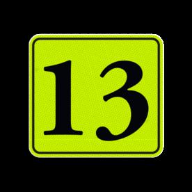 Huisnummerbord Alupanel 119x109 - Reflecterende opdruk: Huisnummerbord Alupanel 119x109 met print van tekst / pictogrammen in reflectieklasse 3 (incl. anti-graffiti laminaat). Basis: Geel-groen-Fluor met zwart (Rand: RAL 9017 - zwart) Tekstvlak: 13. - Product eigenschappen: Ontwerpcode: 407db4Afmetingen: 119x109mmReflecterend: Klasse 3 [ maximaal ]Incl. anti-graffiti laminaat
