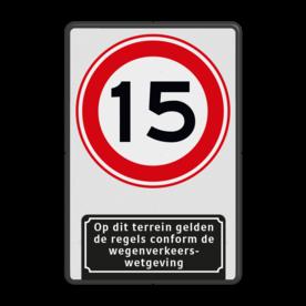Aluminium informatiebord met een dubbel omgezette rand - Aluminium informatiebord met een dubbel omgezette rand met print van tekst / pictogrammen in reflectieklasse 1 (incl. anti-graffiti laminaat). Reflecterende opdruk: Basis: Wit / zwarte rand (Rand: RAL 9017 - zwart) Verkeersteken: Pictogram: A01- vrij invoerbaar: 15 Picto onder: Pictogram: Op dit terrein gelden de regels conform de wegenverkeerswetgeving.