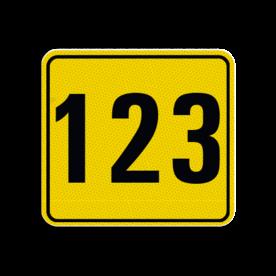 Huisnummerbord Alupanel 119x109mm - Reflecterende opdruk: Huisnummerbord Alupanel 119x109mm met print van tekst / pictogrammen in reflectieklasse 3 (incl. anti-graffiti laminaat). Basis: Geel (Rand: RAL 1023 - geel) kaderrand: Pictogram: Kaderrand Tekstvlak: 123. - Product eigenschappen: Ontwerpcode: 4209aaAfmetingen: 119x109mmReflecterend: Klasse 3 [ maximaal ]Incl. anti-graffiti laminaat