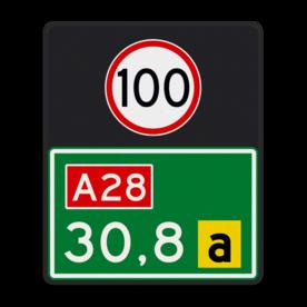 Aluminium hectometerbord met een dubbel omgezette rand - Aluminium hectometerbord met een dubbel omgezette rand met print van tekst / pictogrammen in reflectieklasse 3 (incl. anti-graffiti laminaat). Reflecterende opdruk: Basis: DVK (Rand: RAL 6024 - groen) Tekstvlak: 100 Tekstvlak: A28 Tekstvlak: 30,8 Tekstvlak: a.