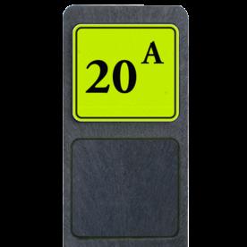 Bermpaal 1250x150x40mm met fluorescerend bordje 119x109mm - Reflecterende opdruk: Bermpaal 1250x150x40mm met fluorescerend bordje 119x109mm met print van tekst / pictogrammen in reflectieklasse 3 (incl. anti-graffiti laminaat). Basis: Geel-groen-Fluor met zwart (Rand: RAL 9005 - zwart) Tekstvlak: 20 A. - Product eigenschappen: Ontwerpcode: 42c992Afmetingen: 119x109mmReflecterend: Klasse 3 [ maximaal ]Incl. anti-graffiti laminaat