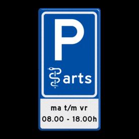 Aluminium informatiebord met een dubbel omgezette rand - Reflecterende opdruk: Aluminium informatiebord met een dubbel omgezette rand met print van tekst / pictogrammen in reflectieklasse 3 (incl. anti-graffiti laminaat). Basis: Blauw (Rand: RAL 5017 - blauw) Picto boven: Pictogram: Parkeren Picto midden: Pictogram: Arts Tekstvlak: ma t/m vr 08.00 - 18.00h. - Product eigenschappen: Ontwerpcode: 4433f9Afmetingen: 400x800mmReflecterend: Klasse 3 [ maximaal ]Incl. anti-graffiti laminaat