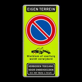 Aluminium informatiebord met een dubbel omgezette rand - Reflecterende opdruk: Aluminium informatiebord met een dubbel omgezette rand met print van tekst / pictogrammen in reflectieklasse 3 (incl. anti-graffiti laminaat). Basis: Fluor geel-groen / grijze rand (Rand: RAL 7042 - grijs) Koptekst: Pictogram: EIGEN TERREIN Verkeersteken: Pictogram: E01 - Parkeren verboden Pictogram: Pictogram: OB304d Wielklem / Wegsleep met tekst Pictogram onder: Pictogram: Verboden toegang voor onbevoegden Art. 461 Wetboek van Strafrecht. - Product eigenschappen: Ontwerpcode: 44bf9eAfmetingen: 1000x2000mmReflecterend: Klasse 3 [ maximaal ]Uitvoering: Dubbel omgezette randIncl. anti-graffiti laminaat