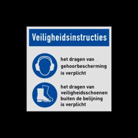 Veiligheidsbord vlak Alupanel (2mm) - Veiligheidsbord vlak Alupanel (2mm) met print van tekst / pictogrammen in reflectieklasse 1 (incl. anti-graffiti laminaat). Reflecterende opdruk: Basis: Wit (Rand: RAL 9016 - wit) Banner: Pictogram: Veiligheidsinstructies Picto 1: Pictogram: M003 - Gehoorbescherming verplicht Tekstvlak: het dragen van gehoorbescherming is verplicht Picto 2: Pictogram: M008 - Veiligheidsschoenen verplicht Tekstvlak: het dragen van veiligheidsschoenen buiten de belijning is verplicht.