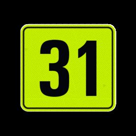 Huisnummerbord Alupanel 119x109 - Reflecterende opdruk: Huisnummerbord Alupanel 119x109 met print van tekst / pictogrammen in reflectieklasse 3 (incl. anti-graffiti laminaat). Basis: Geel-groen-Fluor met zwart (Rand: RAL 9017 - zwart) Tekstvlak: 31. - Product eigenschappen: Ontwerpcode: 4fd7beAfmetingen: 119x109mmReflecterend: Klasse 3 [ maximaal ]Incl. anti-graffiti laminaat