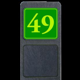 Bermpaal 1250x150x40mm met fluorescerend bordje 119x109mm - Bermpaal 1250x150x40mm met fluorescerend bordje 119x109mm met print van tekst / pictogrammen in reflectieklasse 3 (incl. anti-graffiti laminaat). Reflecterende opdruk: Basis: Groen - Gl-Gr-Fluor (Rand: Fluor geel/groen) Tekstvlak: 49.