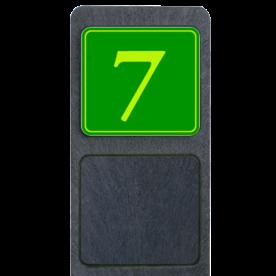 Bermpaal 1250x150x40mm met fluorescerend bordje 119x109mm - Reflecterende opdruk: Bermpaal 1250x150x40mm met fluorescerend bordje 119x109mm met print van tekst / pictogrammen in reflectieklasse 3 (incl. anti-graffiti laminaat). Basis: Groen - Gl-Gr-Fluor (Rand: Fluor geel/groen) Tekstvlak: 7. - Product eigenschappen: Ontwerpcode: 54941cAfmetingen: 119x109mmReflecterend: Klasse 3 [ maximaal ]Uitvoering: Dubbelzijdig bedruktIncl. anti-graffiti laminaat