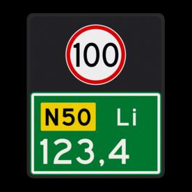 Aluminium hectometerbord met een dubbel omgezette rand - Aluminium hectometerbord met een dubbel omgezette rand met print van tekst / pictogrammen in reflectieklasse 3 (incl. anti-graffiti laminaat). Reflecterende opdruk: Basis: N-2 nummers (Rand: RAL 6024 - groen) Tekstvlak: 100 Tekstvlak: N50 Tekstvlak: Li Tekstvlak: 123,4.