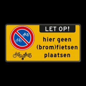 Aluminium informatiebord met een dubbel omgezette rand - Reflecterende opdruk: Aluminium informatiebord met een dubbel omgezette rand met print van tekst / pictogrammen in reflectieklasse 3 (incl. anti-graffiti laminaat). Basis: Fluor geel / zwarte rand (Rand: RAL 9005 - zwart) Pictogram links: Pictogram: E03 - Verboden (brom-)fietsen te parkeren / plaatsen Tekstvlak: hier geen (brom)fietsen plaatsen Aanhef - Banner: Pictogram: LET OP! (banner) Pictogram: Pictogram: (brom)fietsen worden vastgelegd. - Product eigenschappen: Ontwerpcode: 55f82bAfmetingen: 600x300mmReflecterend: Klasse 3 [ maximaal ]Uitvoering: Dubbel omgezette randIncl. anti-graffiti laminaat