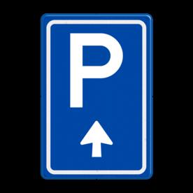 Aluminium informatiebord met een dubbel omgezette rand - Reflecterende opdruk: Aluminium informatiebord met een dubbel omgezette rand met print van tekst / pictogrammen in reflectieklasse 3 (incl. anti-graffiti laminaat). Basis: Blauw (Rand: RAL 5017 - blauw) Picto boven: Pictogram: Parkeren Picto onder: Pictogram: Pijl rechtdoor. - Product eigenschappen: Ontwerpcode: 57da8bAfmetingen: 400x600mmReflecterend: Klasse 3 [ maximaal ]Incl. anti-graffiti laminaat