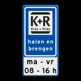 Aluminium informatiebord met een dubbel omgezette rand - Aluminium informatiebord met een dubbel omgezette rand met print van tekst / pictogrammen in reflectieklasse 3 (incl. anti-graffiti laminaat). Reflecterende opdruk: Basis: Wit / blauwe rand (Rand: RAL 5017 - blauw) Verkeerstekens E serie: Pictogram: L52b Kiss + Ride Tekstvlak: ma - vr 08 - 16 h.