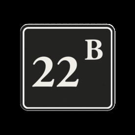 Huisnummerbord Alupanel 119x109mm - Reflecterende opdruk: Huisnummerbord Alupanel 119x109mm met print van tekst / pictogrammen in reflectieklasse 3 (incl. anti-graffiti laminaat). Basis: Zwart (Rand: RAL 9017 - zwart) kaderrand: Pictogram: Kaderrand Tekstvlak: 22B. - Product eigenschappen: Ontwerpcode: 5c1d3cAfmetingen: 119x109mmReflecterend: Klasse 3 [ maximaal ]Incl. anti-graffiti laminaat