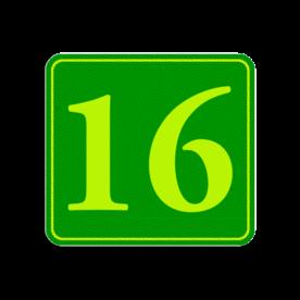 Huisnummerbord Alupanel 119x109 - Huisnummerbord Alupanel 119x109 met print van tekst / pictogrammen in reflectieklasse 3 (incl. anti-graffiti laminaat). Reflecterende opdruk: Basis: Groen - Gl-Gr-Fluor (Rand: Fluor geel/groen) Tekstvlak: 16.